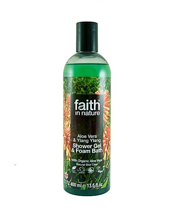 Натуральный гель для душа   Пена для ванны Faith in nature с маслами Алоэ Вера и Иланг-Иланг, 400мл