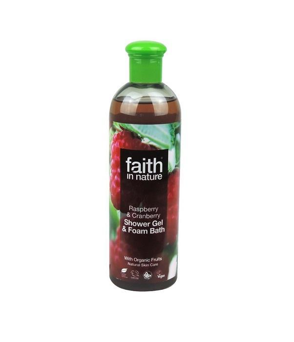 Натуральный гель для душа | Пена для ванны Faith in nature с экстрактом Малины, Клюквы и Черники, 400мл