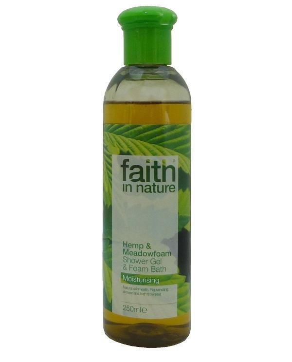 Гель для душа Пена для ванны натуральная Faith in nature с маслами семян Конопли и Пенника лугового, 250мл