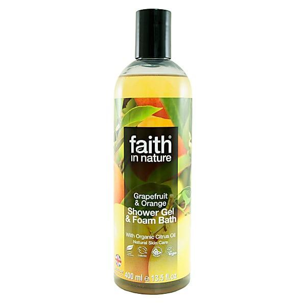 Гель для душа Пена для ванны натуральная Faith in nature с маслами Грейпфрута и Апельсина. 400мл