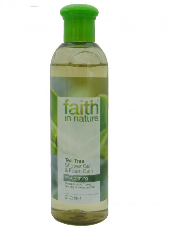 Гель для душа Пена для ванны натуральная Faith in nature с эфирными маслами Чайного дерева, 250мл