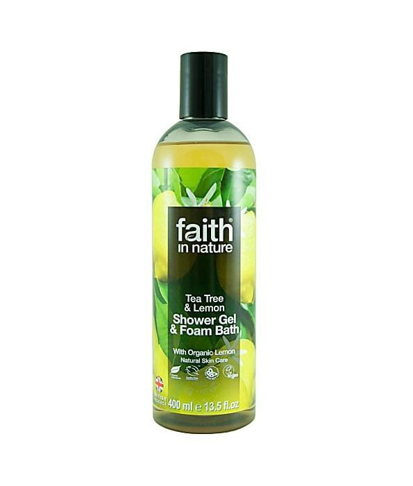 Гель для душа Пена для ванны натуральная Faith in nature с эфирными маслами Чайного дерева, 400мл