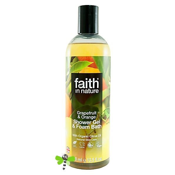 Гель для душа Пена для ванны натуральная Faith in nature с маслами Грейпфрута и Апельсина, 250мл