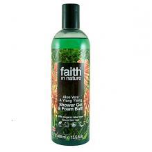 Натуральный гель для душа | Пена для ванны Faith in nature с маслами Алоэ Вера и Иланг-Иланг, 400мл