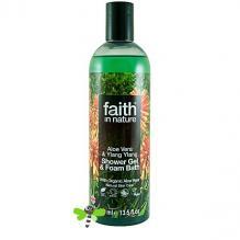 Гель для душа Пена для ванны натуральная Faith in nature с маслами Алоэ Вера и Иланг-Иланг, 250мл
