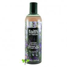 Гель для душа Пена для ванны натуральная Faith in nature с эфирными маслами Лаванды и Герани, 250мл